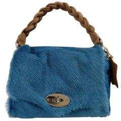 Aphros Blue Pony Hair handle Shoulder Bag
