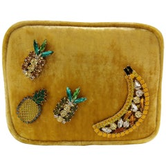 Lisa C. bijoux Fanny Pack Shoulder Yellow Velvet Bag