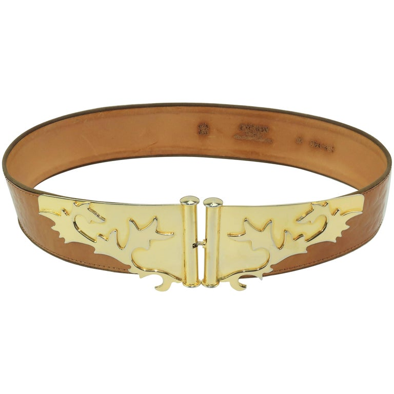 C.1980 Escada Gold Metal & Laminated Leather Belt