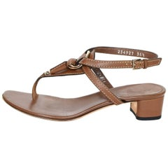 Gucci Brown Leather Horsebit Sandals Sz 35.5