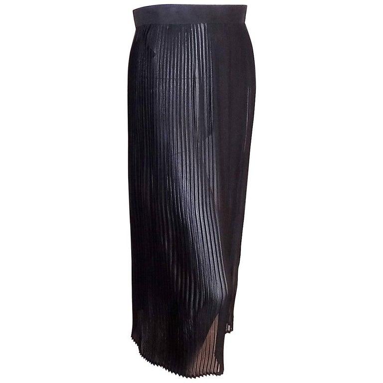 Emanuel Ungaro Paris vintage black silk  pleated transparent skirt