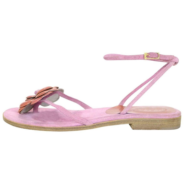 Chanel Pink Suede Camellia Sandals Sz 37.5