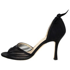 Manolo Blahnik Black Ruched Mesh d'Orsay Open-Toe Pumps Sz 36.5 with DB