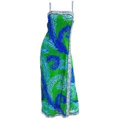 Emilio Pucci Couture Plumage Print Rhinestone Palazzo Pant Dress, 1960s
