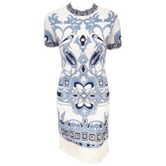 Emilio Pucci White & Blue Cotton Knit Fringe Dress