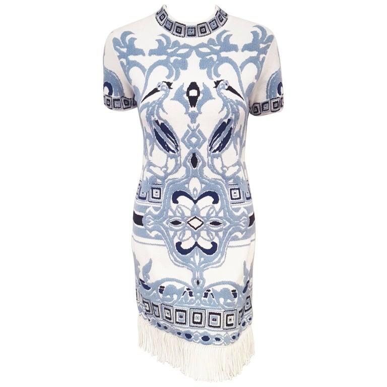 Emilio Pucci White & Blue Cotton Knit Fringe Dress For Sale