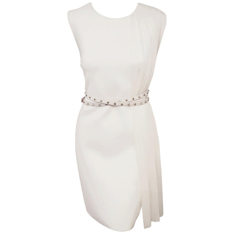 Versace Ivory Side Pleated Sleeveless Dress with Adjustable Studded Leather Belt