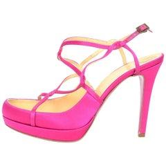 Versace Pink Satin Strappy Sandals Sz 37