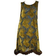 1920s Gold and Indigo Devore Velvet Evening Dress with Mink Trim