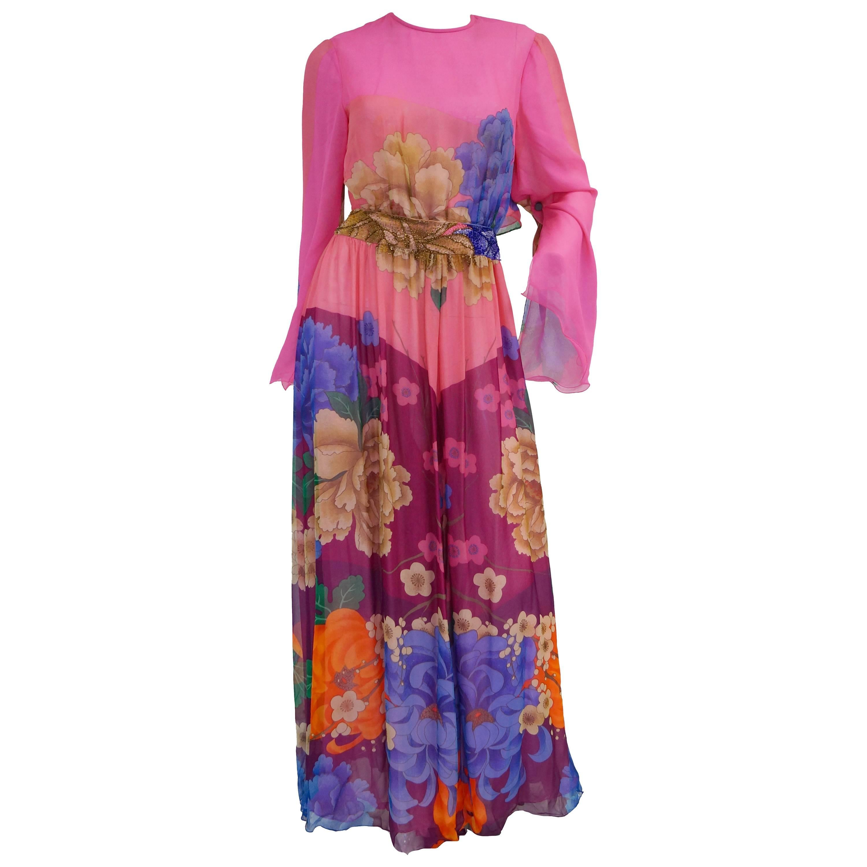 Hanae Mori Silk Floral Jumpsuit, 1970s