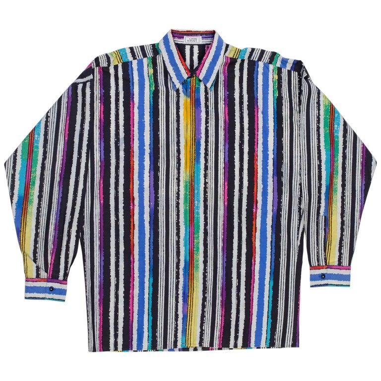 1990s Mens Gianni Versace Men's Cotton Stripe Shirt