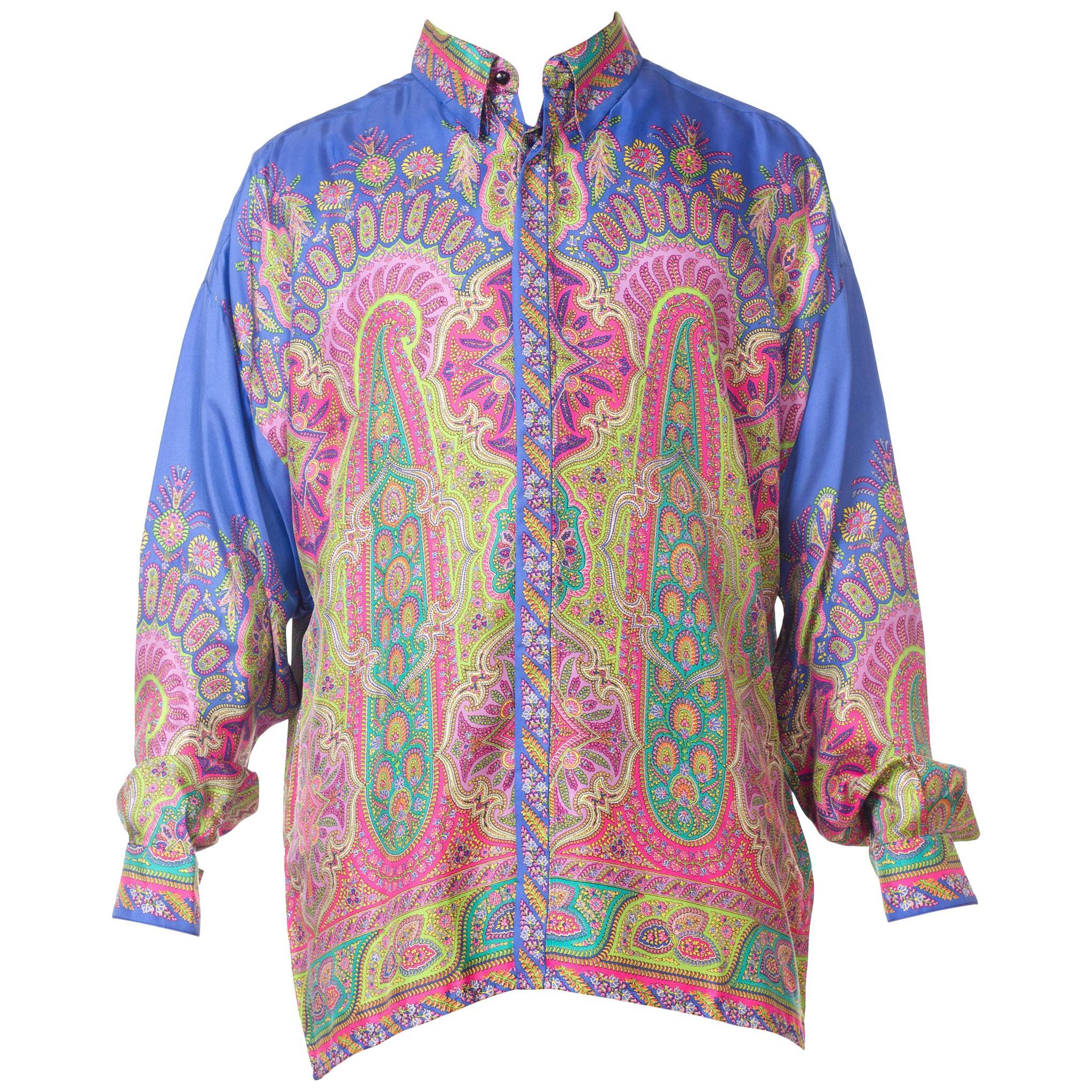 1990S GIANNI VERSACE Men's Silk Paisley Shirt Sz 52