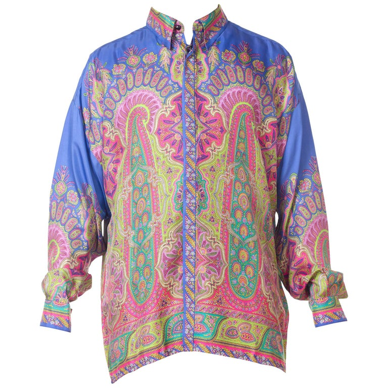 1990s Gianni Versace Men's paisley Printed Shirt For Sale