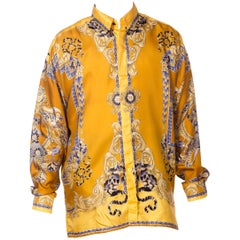 1990s Gianni Versace Men's Silk King Louis Shirt