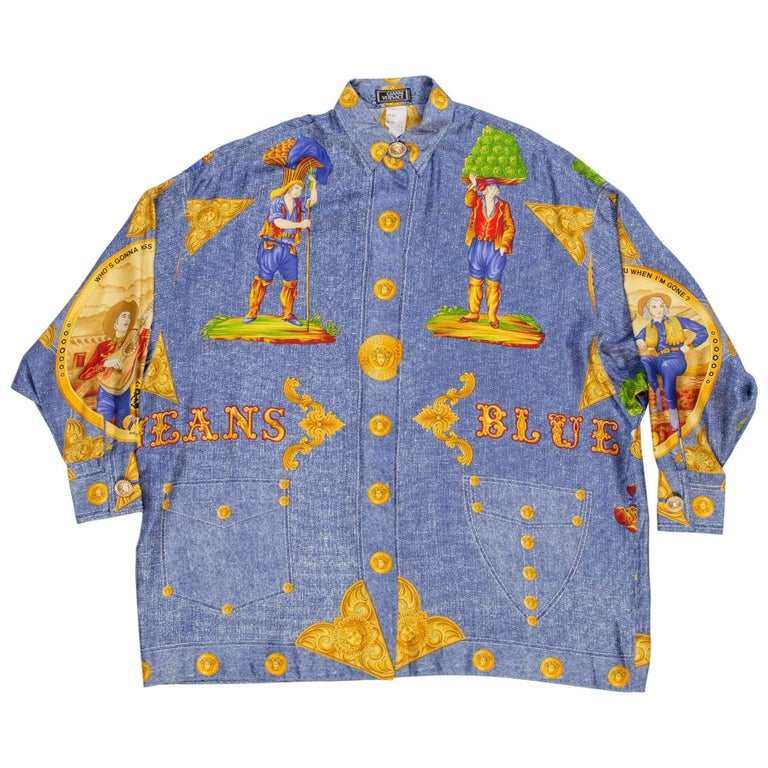 1990s Gianni Versace Silk Denim Printed Shirt with Gold Medusas