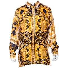 Atelier Gianni Versace Silk Gold Filigree Shirt, 1990s