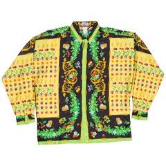 1990s Gianni Versace Garden Beatles and Fruit Baroque Silk Shirt
