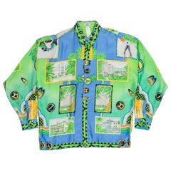 1990s Gianni Versace Miami South Beach Collection Postcard Print Silk Shirt