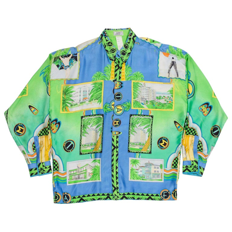 1990s Gianni Versace Miami South Beach Collection Postcard Print Silk Shirt For Sale