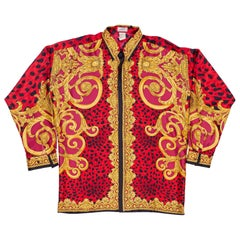 Gianni Versace early 1990s Mens Red Baroque Leopard Print Silk Shirt