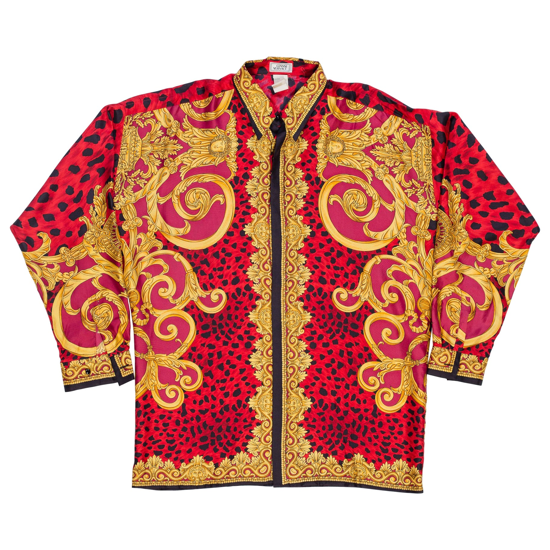 6ec94b45 Gianni Versace early 1990s Mens Red Baroque Leopard Print Silk Shirt at  1stdibs