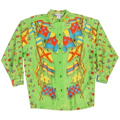 Gianni Versace 1990s Miami Collection Green Nautical Flag Print Silk Shirt