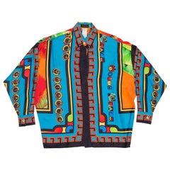 1990S GIANNI VERSACE Miami South Beach Collection Palm Print Silk Shirt