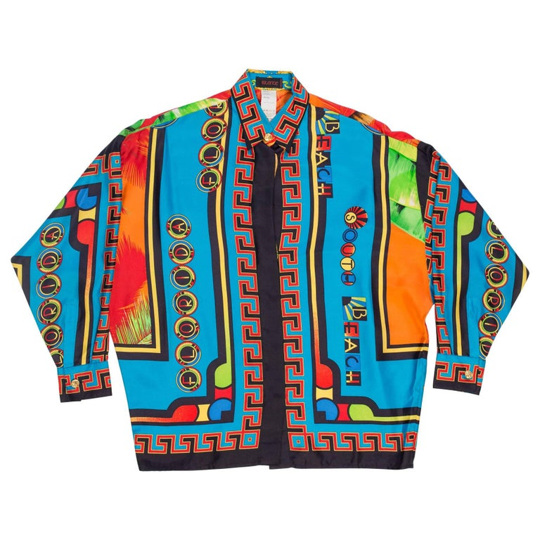 Gianni Versace Istante Miami South Beach Collection Palm Print Silk Shirt For Sale