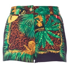 Gianni Versace Tarzan Jungle Print Denim Shorts, 1990s