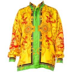 Versace Yellow Baroque Sun Silk Shirt