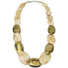 Exotic Vintage Brass & Bone Necklace