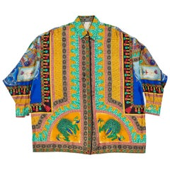 Gianni Versace Peacock Print Silk Shirt with Metallic Details, 1990s