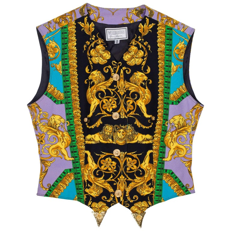 Versus by Versace Baroque Print Vest with Gold Buckle & Tips