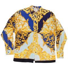 1990s Versus by Versace Cotton Sateen Gold Baroque Shirt