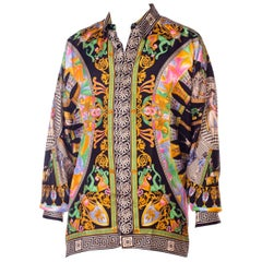 1990s Gianni Versace Neoclassical Greek Key Napoleonic Dandy Print Silk Shirt