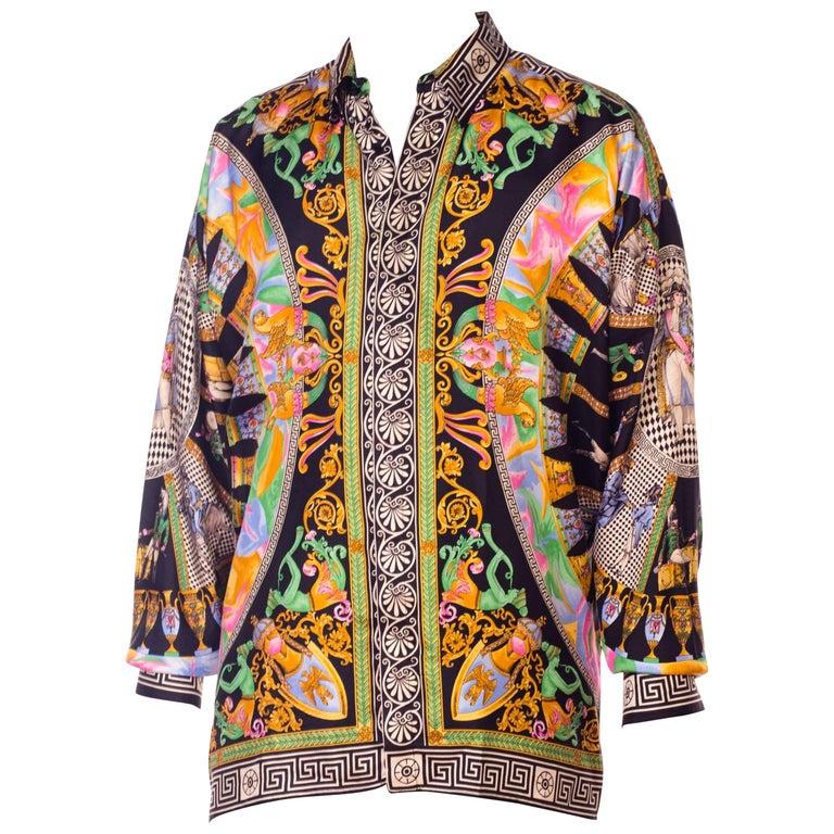 1990s Gianni Versace Neoclassical Greek Key Napoleonic Dandy Print Silk Shirt