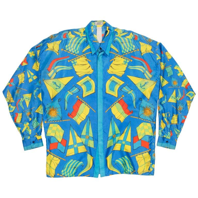Gianni Versace Nautical Flag Print Silk Shirt, 1990s