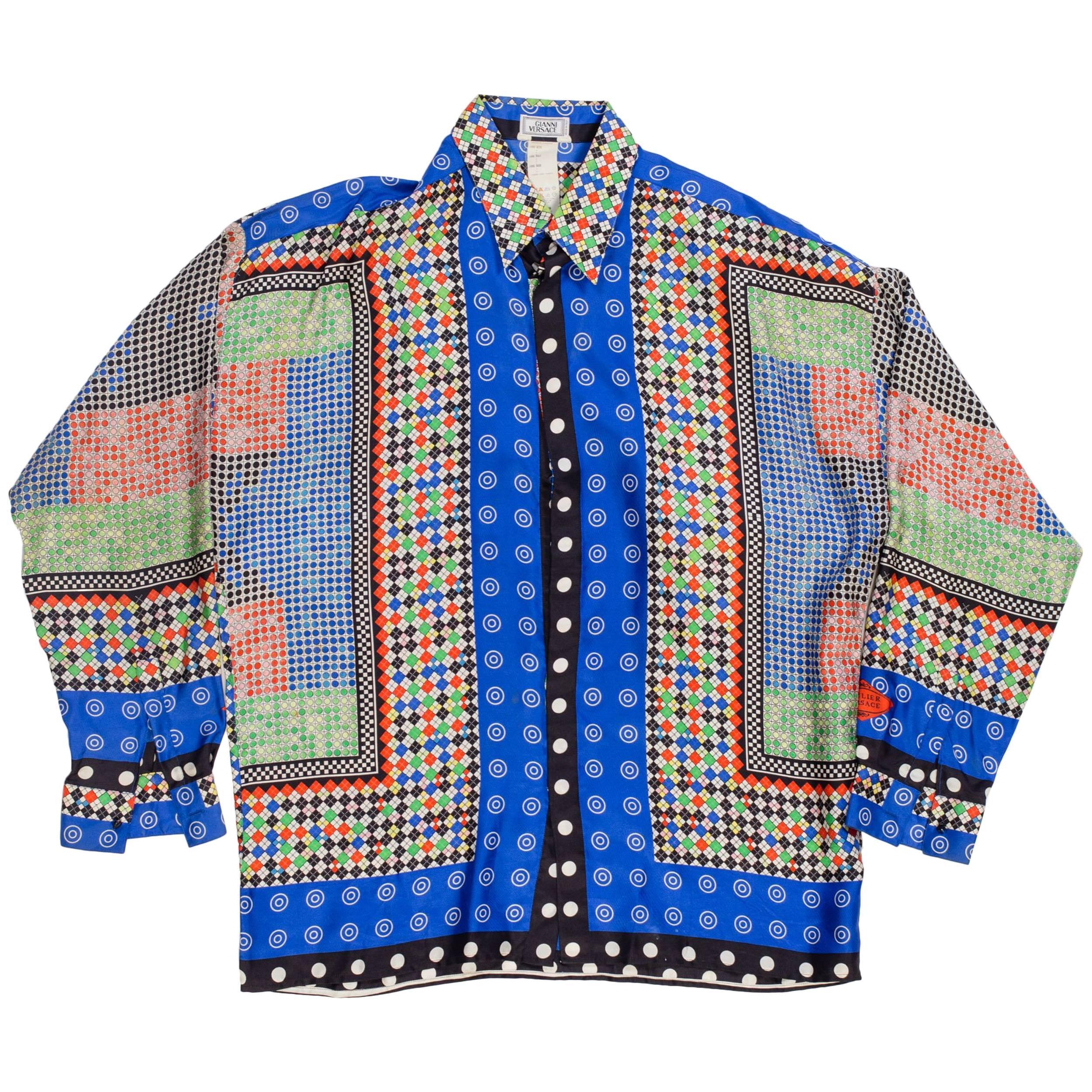 1990S GIANNI VERSACE Multicolor Geometric Silk Men's Shirt Sz 52