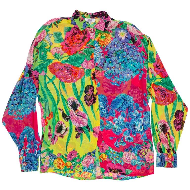 1990s Gianni Versace Versus Sheer Floral Chiffon Shirt