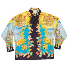 1990s Ad Campaign Gianni Versace Nautical Print Silk Shirt