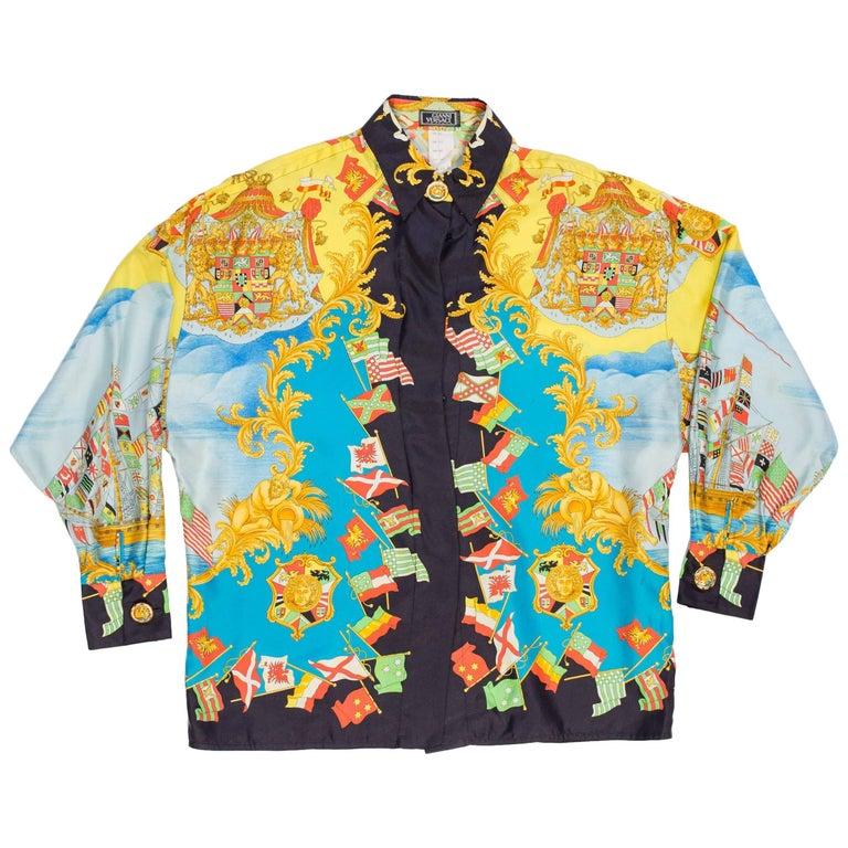 1990s Ad Campaign Gianni Versace Nautical Print Silk Shirt