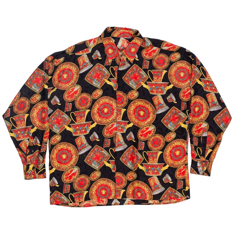 1990s Gianni Versace Classic Barocco Medusa China Print Silk Shirt