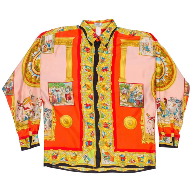 1990s Atelier Gianni Versace Classical Roman Silk Shirt