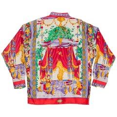 1990s Gianni Versace Men's Silk Chinese Royalty Garden Shirt