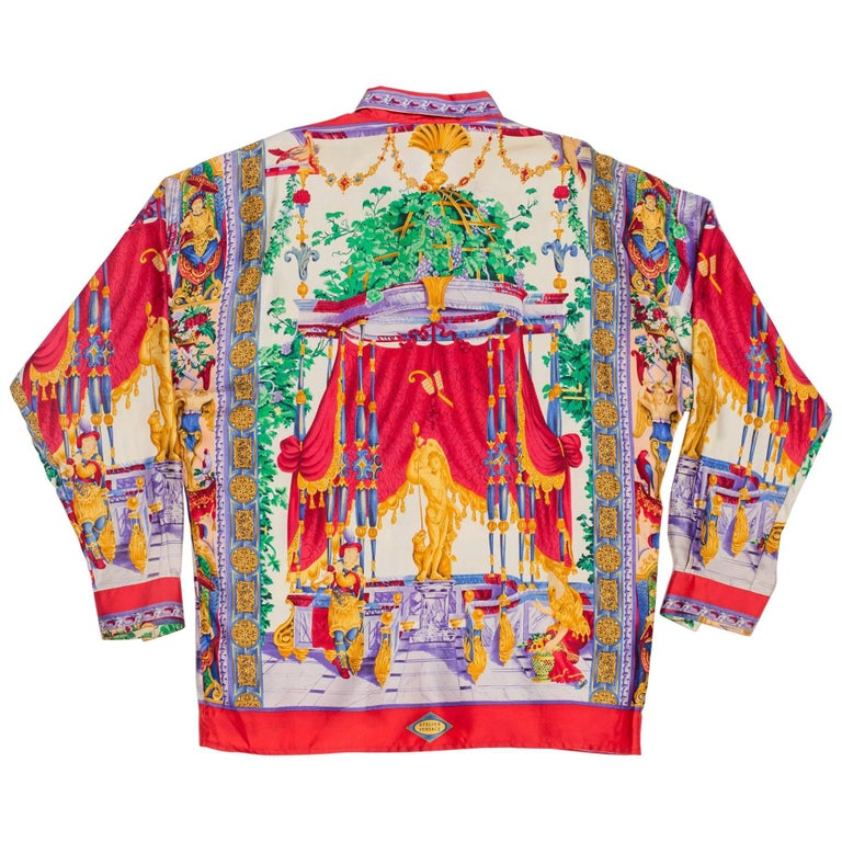 1990s Gianni Versace Men's Silk Chinese Royalty Garden Shirt For Sale