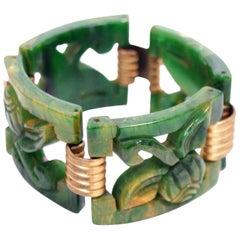 Carved Marbled Jade Bakelite Link Bracelet, 1930s