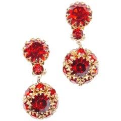 1940s Hattie Carnegie Ruby Red Rhinestone Drop Earrings
