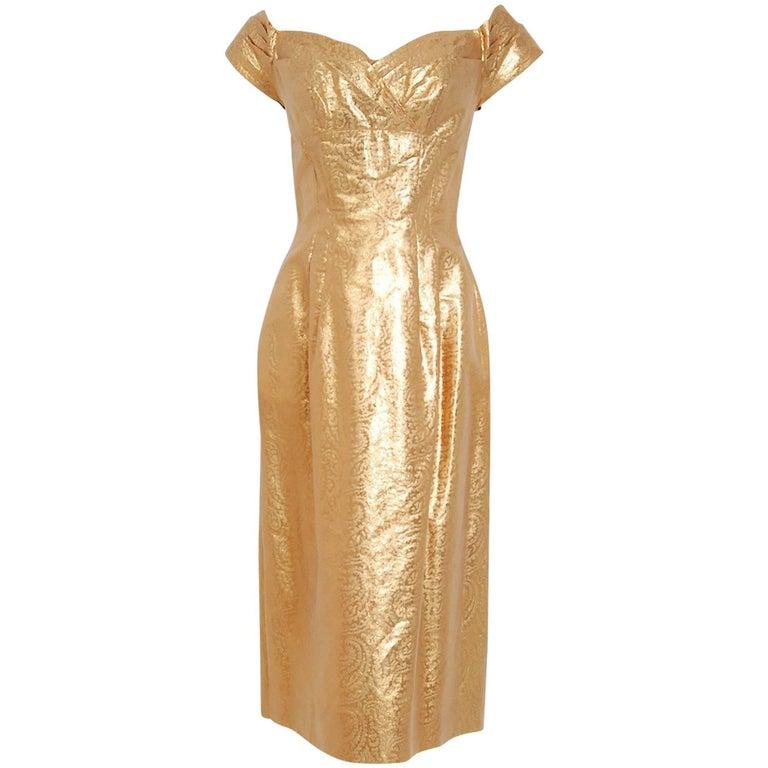 Metallic Gold Lamé Shelf Bust Plunge Hourglass Fishtail Cocktail Dress, 1950s