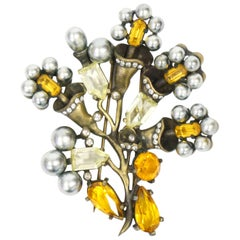 Rare 1940 Eisenberg Original Rhinestone Floral Brass Bouquet Fur Clip