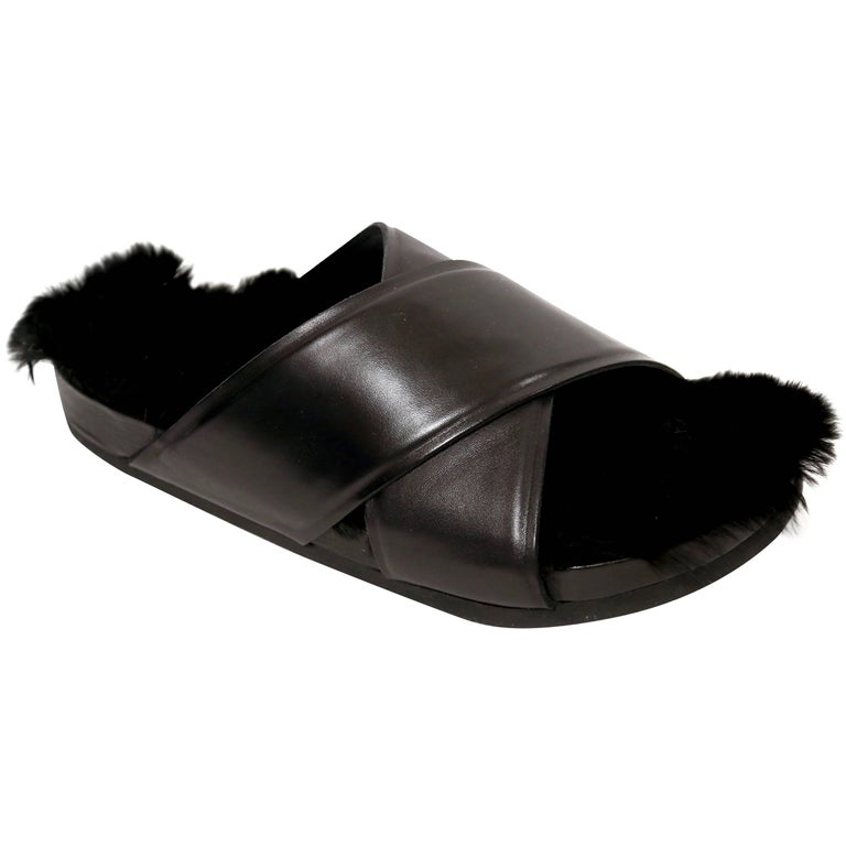 2013 CELINE by PHOEBE PHILOE black furkenstock sandals 41 NEW